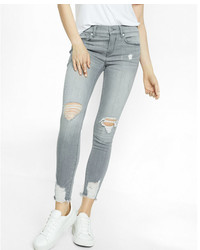 Express Gray Mid Rise Destroyed Stretch Ankle Jean Leggings