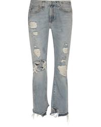 R13 bowie distressed high rise straight leg jeans mid denim medium 3659876