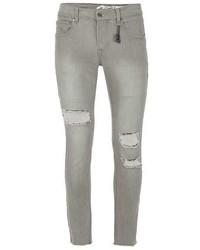Topman Always Rare Grey Ripped Super Skinny Jeans