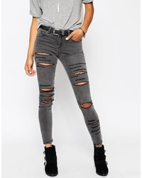 Asos Collection Lisbon Midrise Skinny Jeans In Slick Gray With Extreme Rips