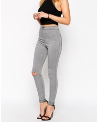 Asos Collection Rivington High Waist Denim Jegging In Shadow Gray With Ripped Knee