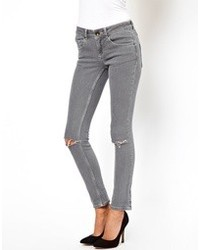 Asos Skinny Jeans In Washed Gray With Ripped Knees