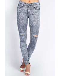 Boohoo Taylor Grey Acid Wash Skinny Ripped Knee Jeans