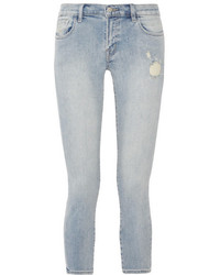 Cropped distressed low rise skinny jeans light denim medium 3731759