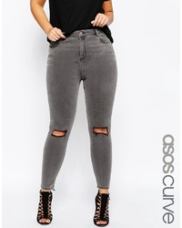 Asos Curve Curve Ridley Skinny Jeans In Slated Gray With Shredded Rips