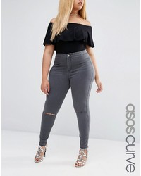Asos Curve Curve Rivington Jeggings In Ice Gray With Knee Rips