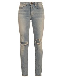 Saint Laurent Distressed Mid Rise Skinny Jeans