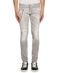DSQUARED2 Distressed Skinny Jeans Wremovable Chain Gray