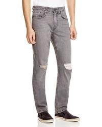 Paige Federal Distressed Slim Fit Jeans In Grey