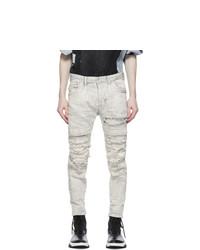 Julius Grey Denim Distressed Stretch Jeans