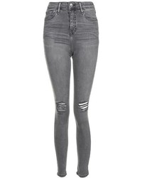 Topshop Moto Grey Ripped Jamie Jeans