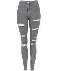 Topshop Moto Grey Super Rip Joni Jeans