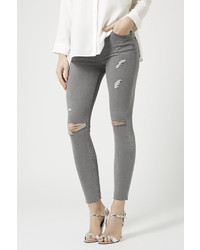 Topshop Petite Moto Grey Ecru Ripped Jeans | Where to buy & how to ...