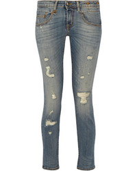 R13 boy distressed mid rise skinny jeans mid denim medium 3660049