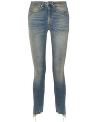 R13 jenny distressed mid rise skinny jeans mid denim medium 4393788