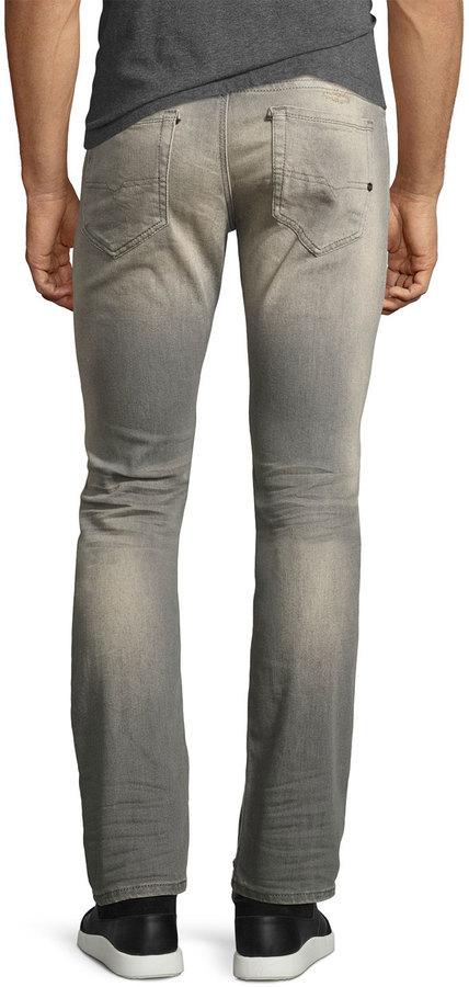 326a233e Diesel Thavar 084dv Distressed Skinny Jeans Gray, $248 | Neiman Marcus |  Lookastic.com