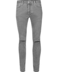Topman Grey Bleach Ripped Stretch Skinny Jeans