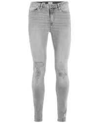 Topman Washed Grey Ripped Spray On Skinny Jeans