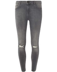 Pale Grey Rip Darcy Ankle Grazer Jeans