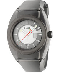 Gucci 46mm Sync Sport Watch W Rubber Strap Gray