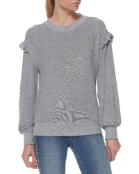 Grey Ruffle Crew-neck Sweater
