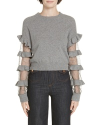 RED Valentino Ruffle Point D Wool Sweater
