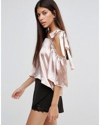 Boohoo Satin Cold Shoulder Tie Detail Top