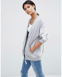 Asos Bomber Jacket With Satin Panels In Boxy Fit Jersey