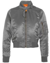 Balenciaga Scarf Satin Bomber Jacket Gray