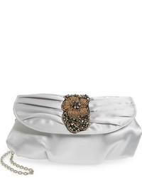 Bead crystal embellished satin clutch grey medium 874341