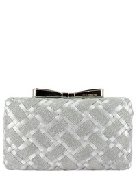 Menbur Woven Box Clutch With Bow Clasp Metallic