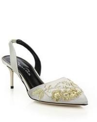 Grey Satin Heeled Sandals