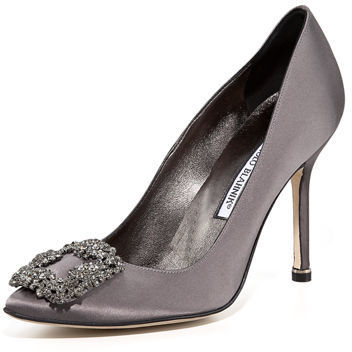 f778fbf5246f ... Grey Satin Pumps Manolo Blahnik Hangisi 105mm Satin Pump ...