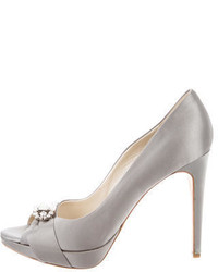 Christian Dior Peep Toe Satin Pumps