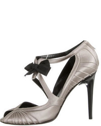 Gucci Satin Peep Toe Pumps