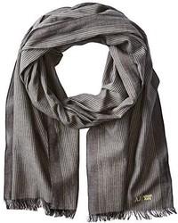 Armani Jeans Cotton Gauze Striped Scarf