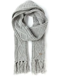 Diesel Cable Knit Fringed Scarf