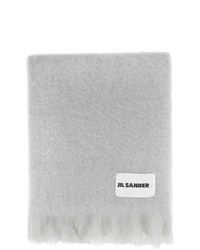 Jil Sander Grey Mohair And Wool Scarf
