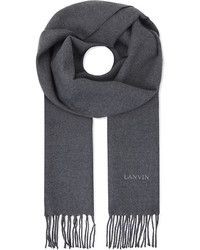 Lanvin Grey Tassel Classic Logo Embroidered Wool Scarf