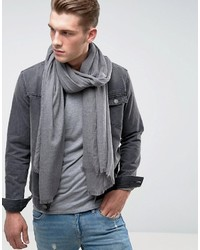 Asos Lightweight Blanket Scarf In Gray Marl