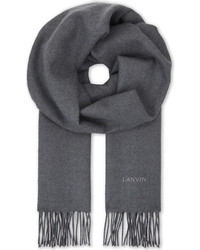Lanvin Navy Tassel Sophisticated Logo Embroidered Wool Scarf