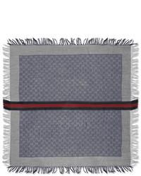 Gucci Olin Junior Gg Fringe Scarf Sapphirelight Gray