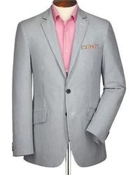 Charles Tyrwhitt Blue And White Stripe Seersucker Classic Fit Jacket
