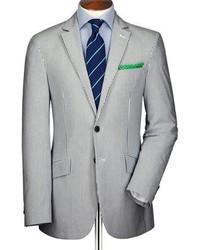 Charles Tyrwhitt Blue And White Stripe Seersucker Slim Fit Jacket