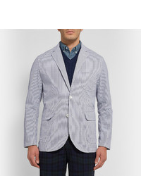 Beams Plus Striped Seersucker Blazer, $220 | MR PORTER