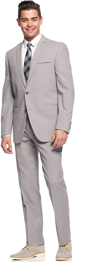 Bar Iii Suit Grey Tonal Seersucker Slim Fit | Where to buy & how ...