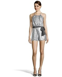 Jay Godfrey Silver Sequined Fieldston Halter Romper
