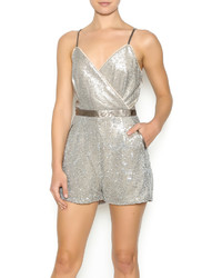 The clothing company leatherette strap sequin romper medium 378079