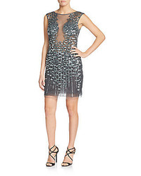 Sequined illusion mesh sheath dress medium 599683