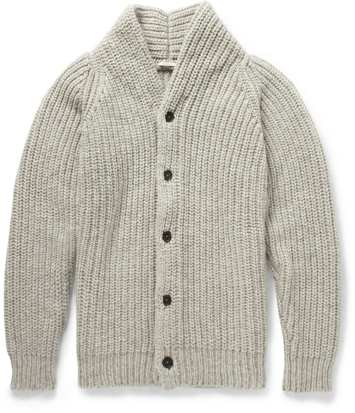 Massimo Alba Chunky Mouline Wool Shawl Collar Cardigan | Where to ...